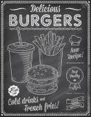 Grunge tabuli Fast Food Menu šablony 4