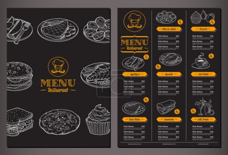 Illustration for Modern looking vector template for a Folded Restaurant Menu with lots of nice vintage food illustrations - Royalty Free Image