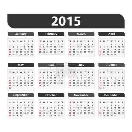 2015 Calendar on white background