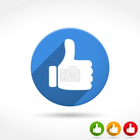 Illustration for Thumbs up icon, flat design, vector eps10 illustration - Royalty Free Image