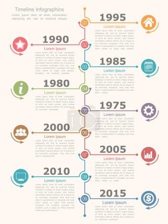 Illustration pour Modèle de conception infographique chronologique, illustration vectorielle eps10 - image libre de droit