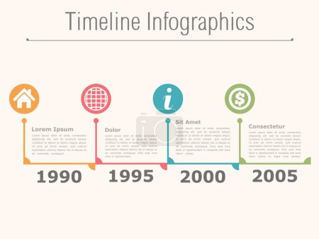 Illustration for Timeline infographics design template, vector eps10 illustration - Royalty Free Image