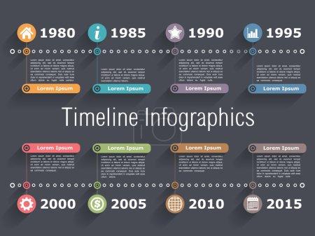 Illustration for Horiztonal timeline infographics design template, vector eps10 illustration - Royalty Free Image