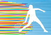 Woman playing tennis vector background