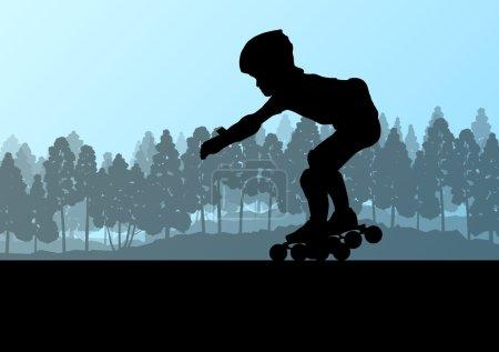 Kid roller skating in park vector background