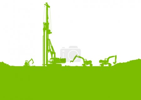 Ecology industrial construction site vector background illustrat
