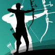 Active young archery sport man and woman silhouett...