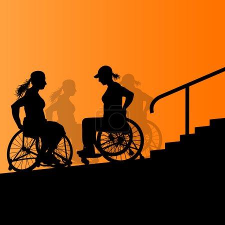 Illustration pour Actif handicapé jeune femme en fauteuil roulant détaillée escalier soins de santé étapes concept silhouette illustration arrière-plan vecteur - image libre de droit