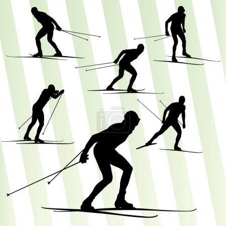Cross country skiing vector background with sun fo...