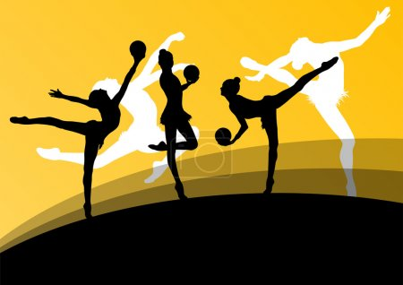 Active young girl gymnasts silhouettes in acrobatics ball abstra