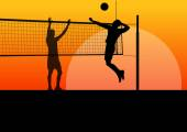 Active young men volleyball player sport silhouettes in abstract background illustration