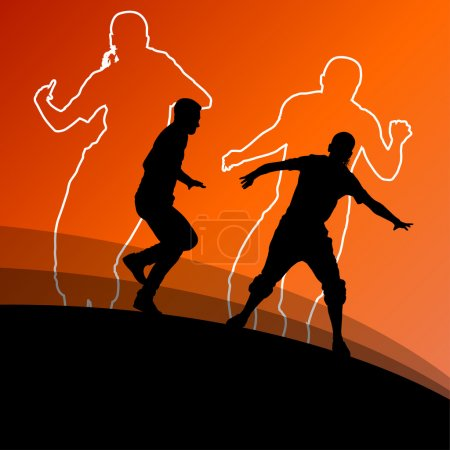 Active young man and woman dancers silhouettes in abstract line