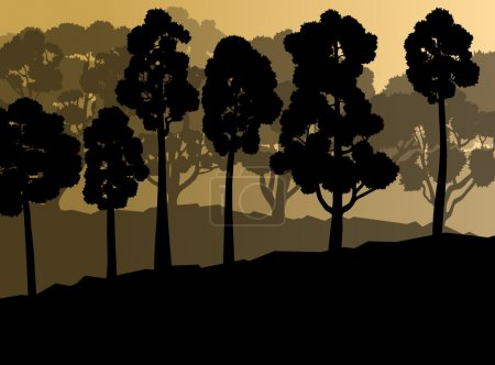 Illustration for Ecology forest vector background concept with many detailed trees for poster - Royalty Free Image