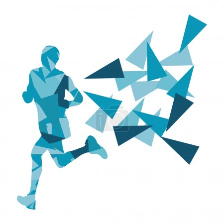 Marathon runner abstract vector background concept made of fragm