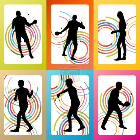 Table tennis player silhouette ping pong set vector background c