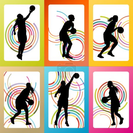 Basketball woman player vector background set
