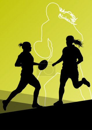 Rugby player active young women sport silhouettes abstract backg