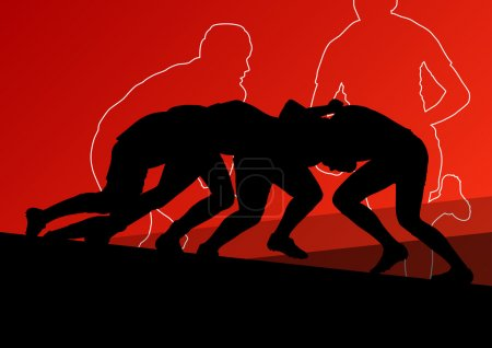 Rugby player active young men sport silhouettes abstract backgro