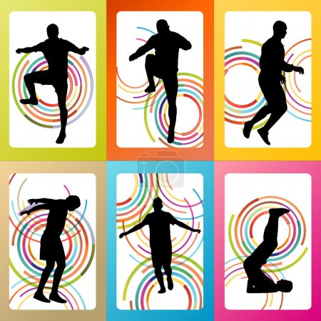Man stretching exercise warming up and training set vector backg