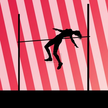 Illustration for High jump woman vector abstract background for poster - Royalty Free Image