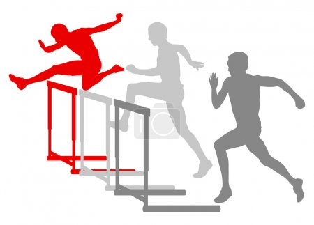 Illustration for Hurdle race man barrier running vector background winner overcoming difficulties concept - Royalty Free Image