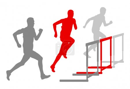 Hurdle race man barrier running vector background winner