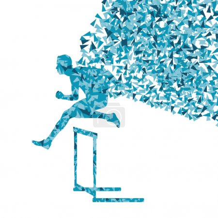 Illustration for Hurdle racer man barrier running vector background. Winner overcoming difficulties concept - Royalty Free Image