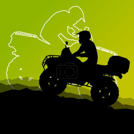 All terrain vehicle quad motorbike riders in wild nature abstrac