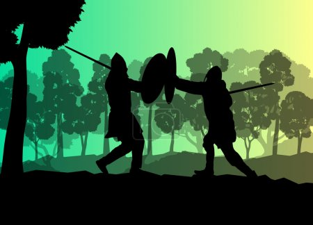 Illustration for Medieval warrior, crusader vector background landscape concept with trees and forest - Royalty Free Image
