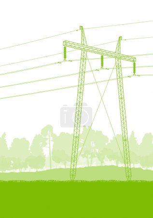 High voltage power transmission tower line green ecology energy