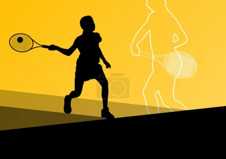 Boy tennis players active sport silhouettes vector abstract back