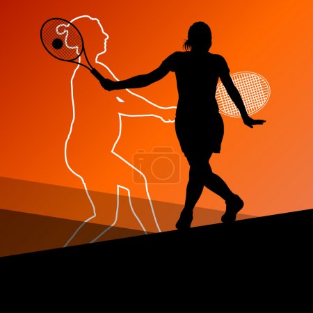 Girl tennis players active sport silhouettes vector abstract bac