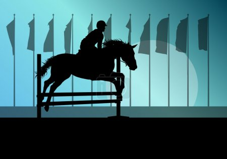 Illustration for Horse jumping, overcoming obstacles, equestrian sport show with horse and rider vector background concept - Royalty Free Image