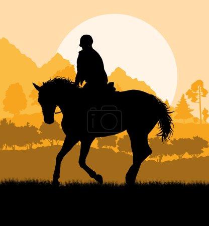 Horseback rider silhouette in nature vector background landscape
