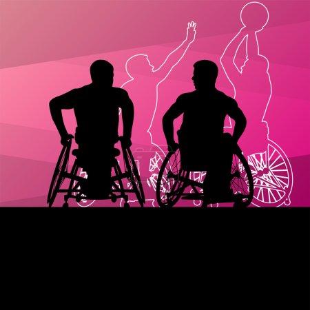 Illustration pour Jeunes hommes handicapés actifs joueurs de basket-ball dans un fauteuil roulant détail sport concept silhouette illustration arrière-plan vecteur - image libre de droit