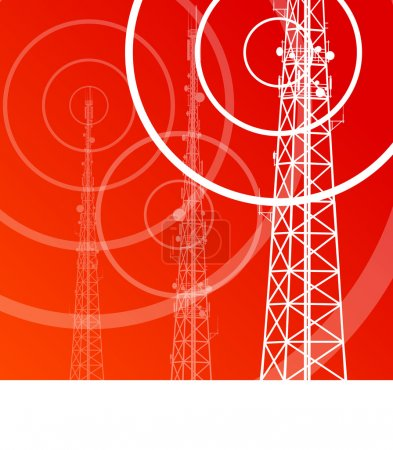 Antenna transmission communication tower vector background