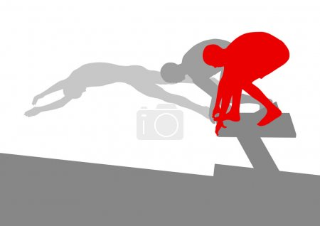 Swimmer position for jump on starting block vector background co