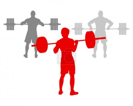 Man powerlifting weights isolated abstract winner concept vector