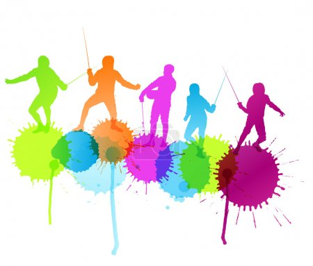 Fencing sport silhouette vector background concept with color sp