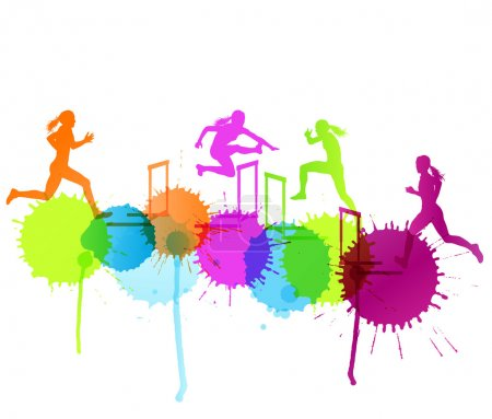 Illustration for Hurdle race woman barrier running vector background winner overcoming difficulties concept with color splashes - Royalty Free Image