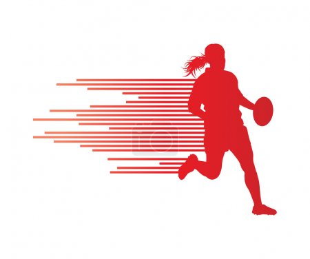 Rugby player woman silhouette vector background concept