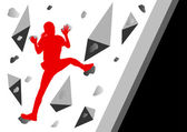 Climber woman winner vector background concept