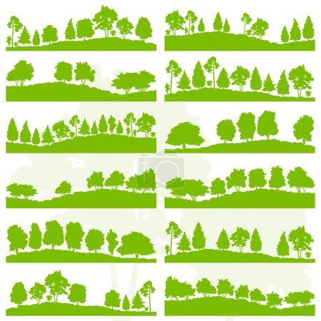 Les arbres forestiers et les buissons silhouettes de la nature sauvage du paysage illust