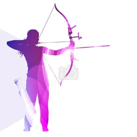 Archer training bow man silhouette illustration ve...