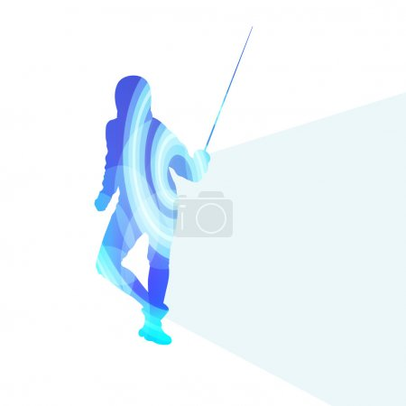 Fencing man silhouette vector background colorful concept