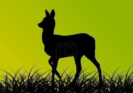 Cerf biche dans le champ d'herbe fond vecteur