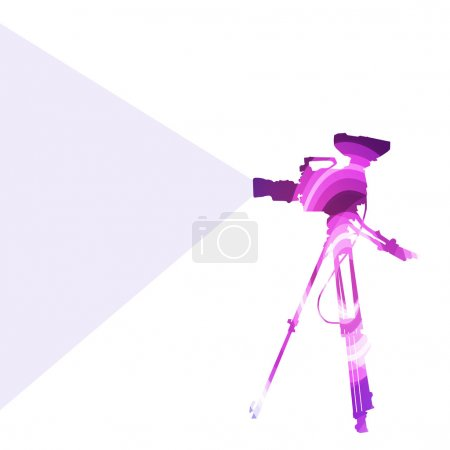 Cameraman with video camera silhouette illustration vector backg