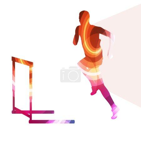 Athlete jumping hurdle, man silhouette, illustration, vector bac