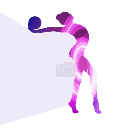 Modern rhythmic gymnastics woman with ball silhouette illustrati