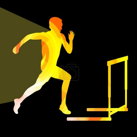 Athlete jumping hurdle, man silhouette, illustration, vector bac